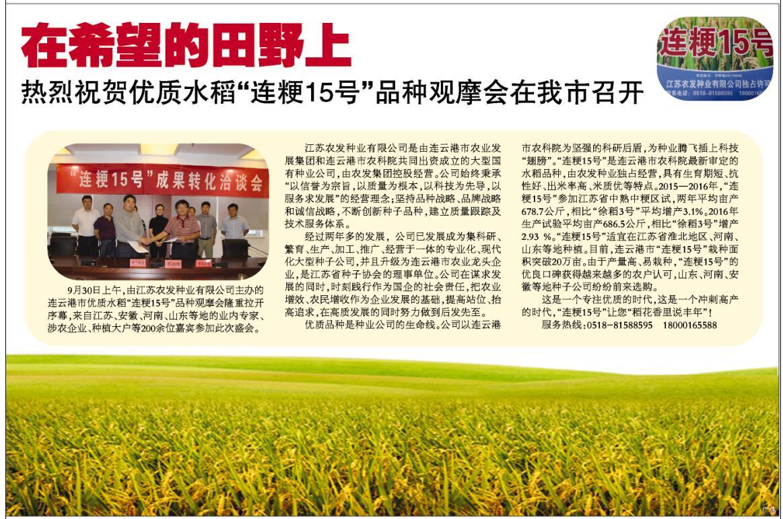 """热烈祝贺优质水稻""""连粳15号""""品种vwin152在我市召开"""